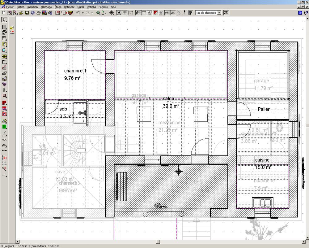 logiciel d 39 architecture 3d arcon 15 cao construction am nagement r novation plans 2d shob. Black Bedroom Furniture Sets. Home Design Ideas